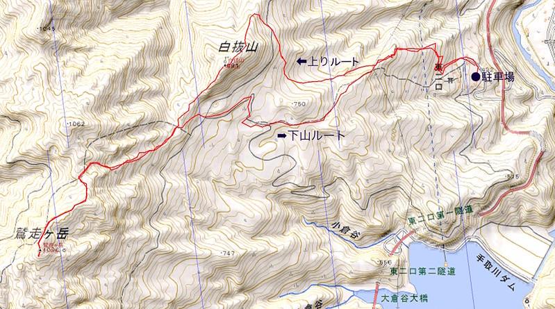 白抜山 鷲走ヶ岳 周回 データ検証編