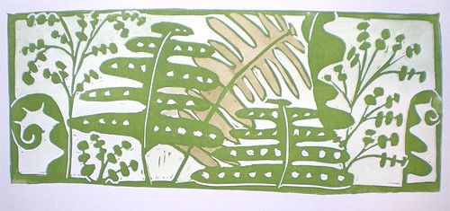 ferns block print by kristinloganbill