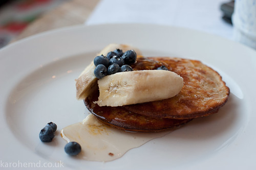 Buttermilk Pancakes, Blueberries, Banana, Honey Butter
