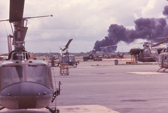 Saigon 1964 - Tan Son Nhut - Fuel dump mortared by the VC
