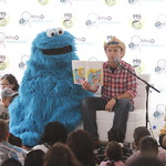 KLRU 50th Birthday Party 2012 368 Daytripper's Chet Garner reads with Cookie Monster