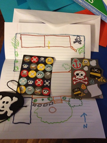 Maps, pirate stickers and eye patches for our car trip by hopeandmegan