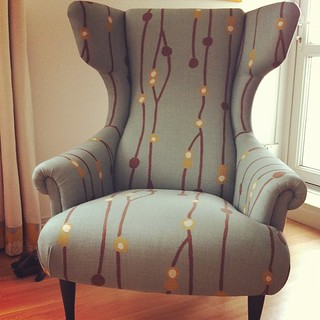 Duck egg blue wingbacked chair