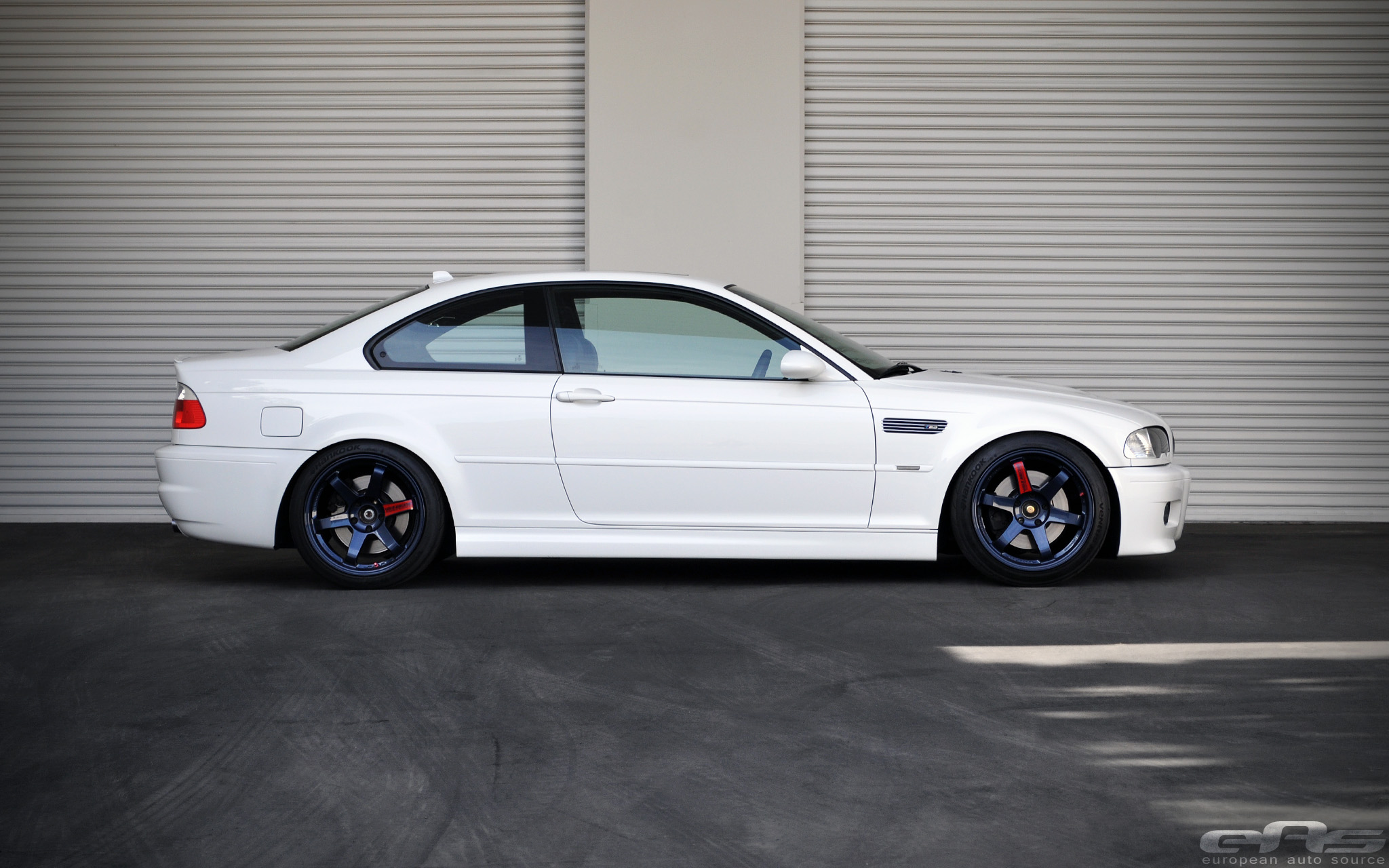 Clean White E46 M3 On Magnesium Blue Volk Te37sl Wheels
