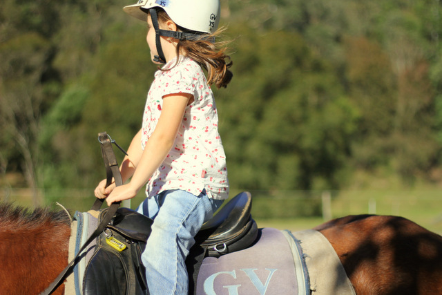 Her first horse riding lesson