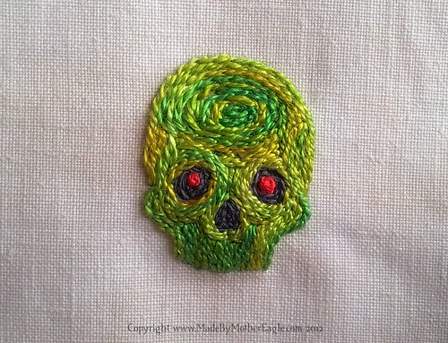 Zombie Skull miniature embroidery in silk