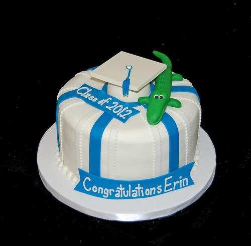 Xavier Prep High School Graduation Cake with Alligator and Graduation Hat