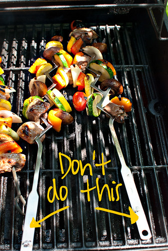 kabobs on grill-cooked