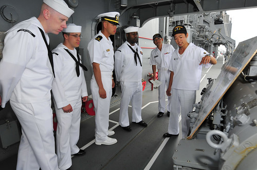 Sailors assigned to USS McCampbell (DDG 85) tour the Japan Maritime Self-Defense Ship Yamagiri.