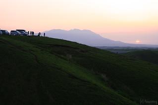 sunrise behind Kuju