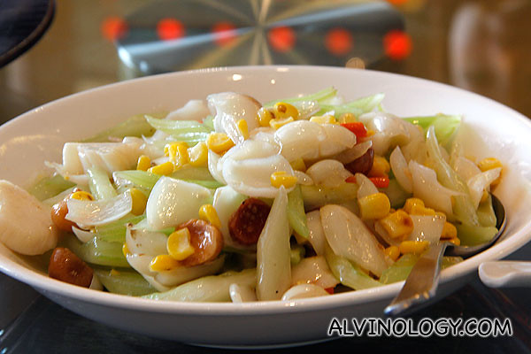 Stir Fried Scallops with Lily Bulbs, Sweet Corn and Hawaiian Nuts