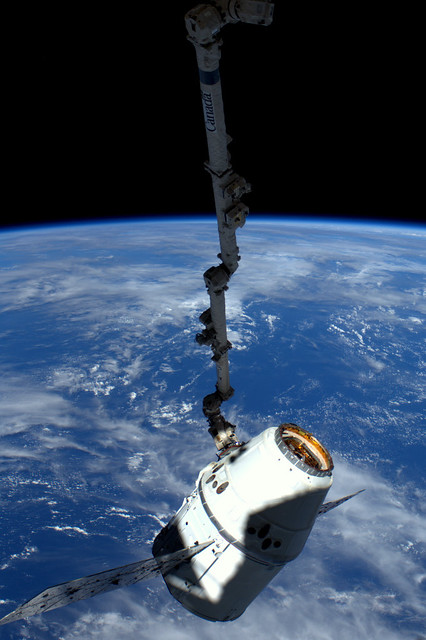 Dragon spacecraft attached to Canadarm2