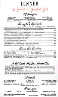 1956 ... Disneyland menu