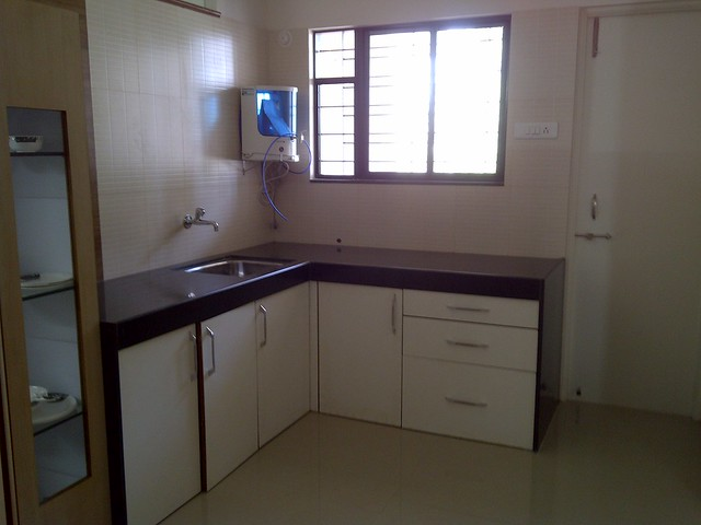 Kitchen in the sample flat of Gawade Buildcon's Unique Enclave - 2 BHK Flats next to Sulzon One Earth Campus at Sade-Satara-Nali Gram Panchayat, Hadapsar, Pune 411028