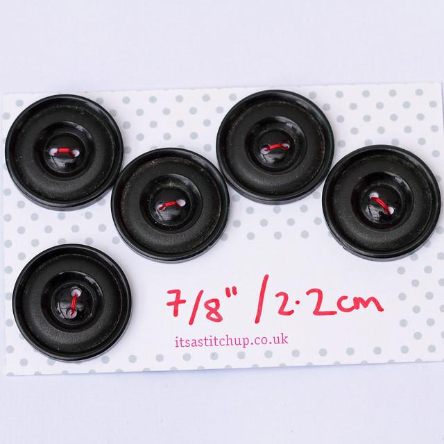 5 vintage large black buttons – 22mm
