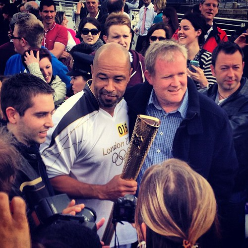 The legend @paulmcgrath5 with his #olympictorch #torchrun by Gribers