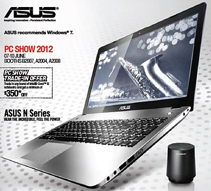 Brochure for Asus PC Show 2012 promotions for notebooks, netbooks, Ultrabooks, Zenbooks, Slate PCs, and Transformer tablets.
