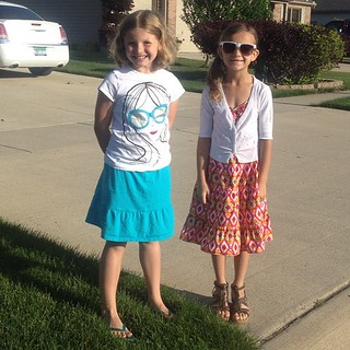 Karli and her friend...the last day of school outfit she picked out a week ago with her HEELS (must have!)
