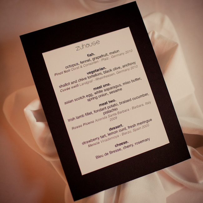 Zuhause Supper Club table menu