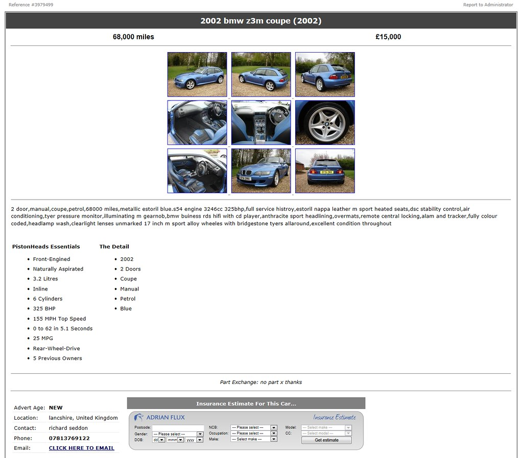 2002 M Coupe | Estoril Blue | Estoril/Black | Pistonheads Ad Screenshot