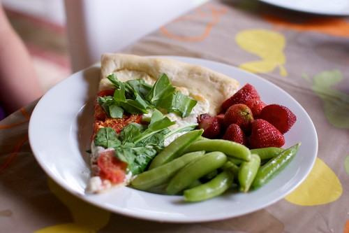 BLT Pizza with Sugar Snap Peas, and Strawberries