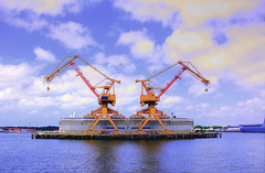 port, machine, vehicle, offshore drilling,