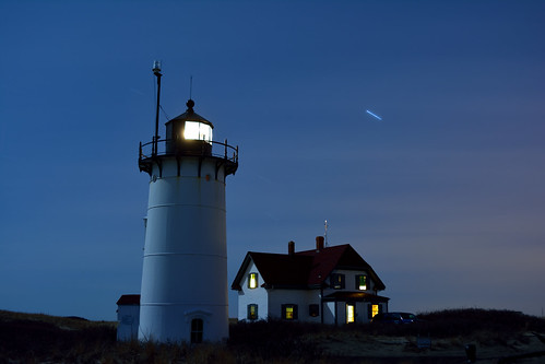 """Shooting Star"" over Race Point Light"