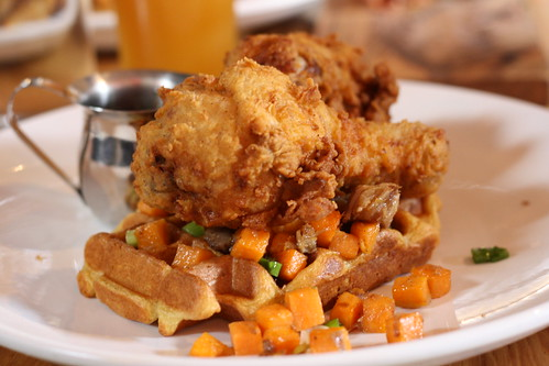 Fried Chicken, Waffles, Sweet Potato & Pork Belly Hash, Maple Syrup