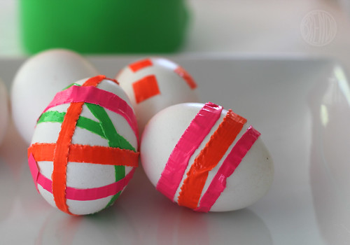 eggs decorated with duct tape