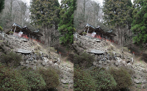 Oidemori-Hachiman Shrine on the hillside of  Mount Taihaku, stereo parallel view