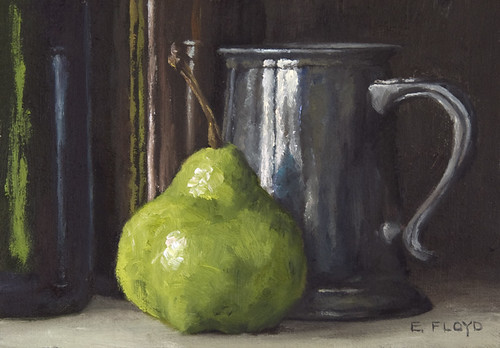 Still Life with Pear, Pewter Mug, and Bottles