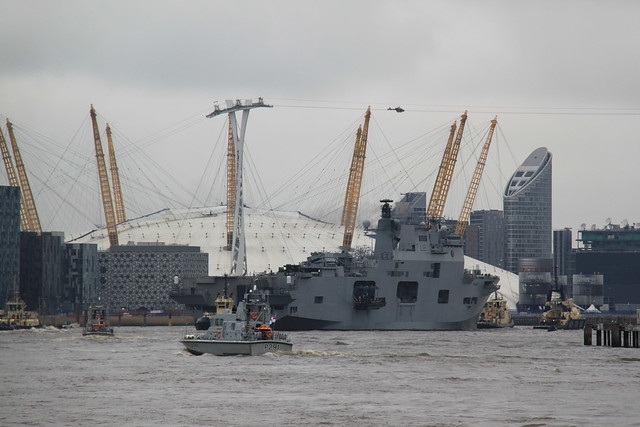 HMS Ocean approaching The O2