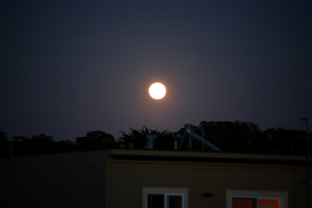 Supermoon rising San Francisco