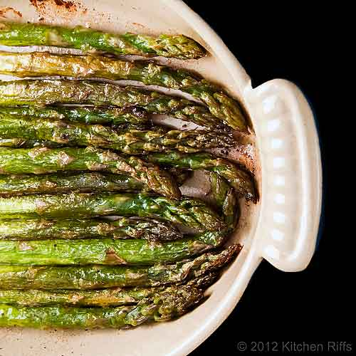 Roast Asparagus in Baking Dish, Overhead View