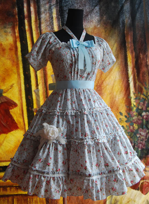 Infanta_Halter_Bowknot_Lace_Up_Printed_Cotton_Lolita_Dress_3