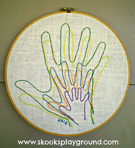 Embroidered Family Handprints