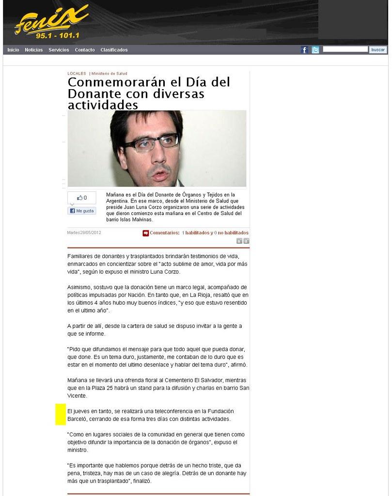 Site Fenix 951 (La Rioja) - Día Mundial de la Donación de Órganos - 29-05-12