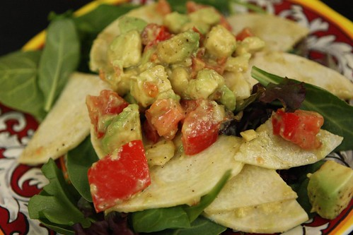 Jicama Avocado Tomato Salad with Lime and Mixed Greens
