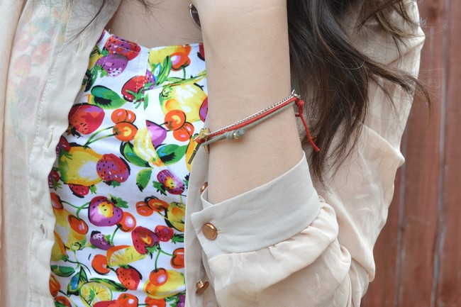 daisybutter - UK Style and Fashion Blog: what i wore, peplum, SS12, prints, brights, sheer shirt, rose gold