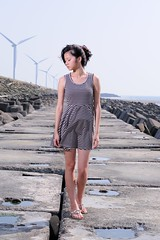 [Free Images] People, Women - Asian, Windmill, People - Eyes Closed, Wind Power ID:201205162200
