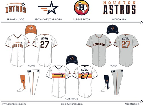 21814c008 Lots of readers attempted to combine design elements from past Astros  uniforms, but none did so as successfully as Rocklein. His alternate jersey,  with the ...