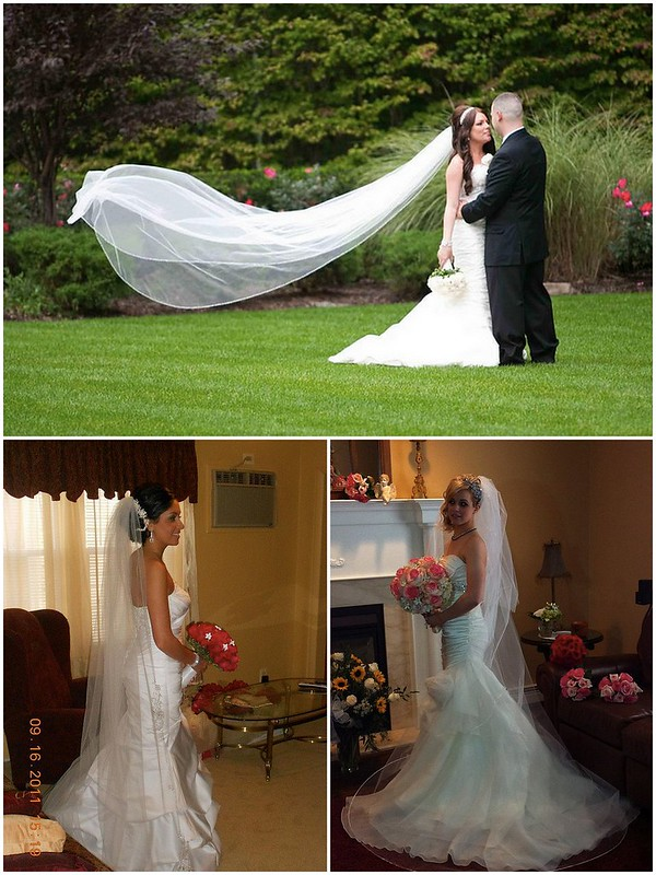 Bridal Styles brides wearing cathedral length veils
