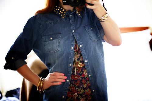 17.05.12 :: DIY Denim Gold Studded Collar Shirt with Mum's Floral Wrap Dress and @LamaPeach Paige Boots.