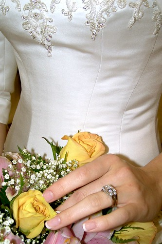 Photo of a bride with a bouquet and her wedding ring