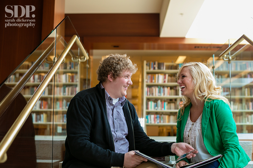 Kansas City downtown library engagement photography