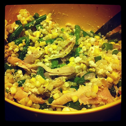 Pearled Cous Cous, Green Bean, & Corn Salad with Smoked Chicken #wfd