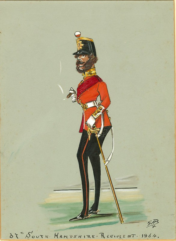 caricature of 1860s English foot infantryman with mutton chop sideburns
