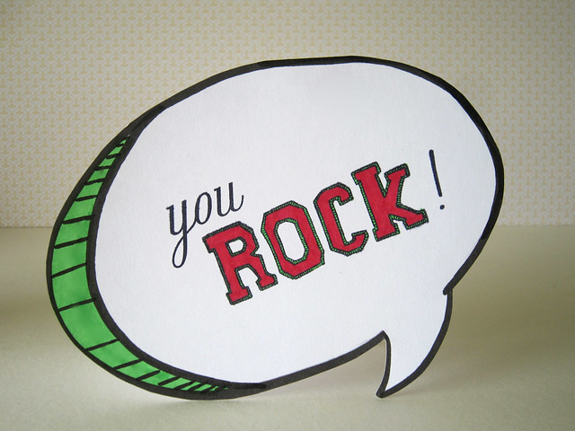 You ROCK Word Balloon Shaped Card