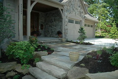 backyard, outdoor structure, garden, property, porch, yard, cottage, flagstone, patio, landscaping, home, walkway,