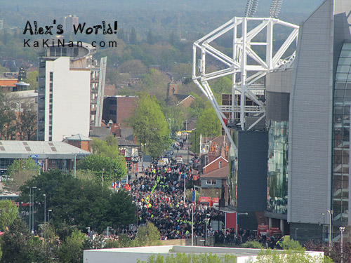 Crowd gathered to enter Old Trafford stadium
